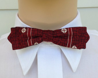 1950s Red And Black Clip On Wembley Bow Tie