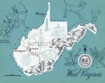 West Virginia Map Vintage - High Res DIGITAL IMAGE 1960s Picture Map - Fun Retro Colors - image transfer for cards totes souvenir prints