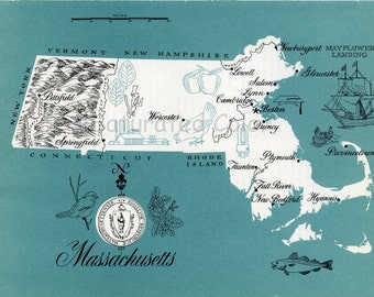 Massachusetts Map Vintage - High Res DIGITAL IMAGE 1960s Picture Map - Fun Retro Colors - image transfer for cards totes souvenir prints