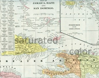 Bermuda Islands ORIGINAL 1888 Antique Map Vintage - Elbow Beach Chaplain Horseshoe Church Shelly Tobacco Somerset Long Warwick Bay Souvenir