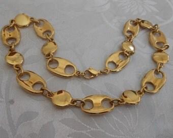 Vintage necklace, heavy gold plate station necklace, elegant necklace, vintage jewelry