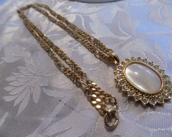 """Vintage pendant necklace, signed """"BUTLER"""" MOP and crystal pendant with 30 inch golden chain"""
