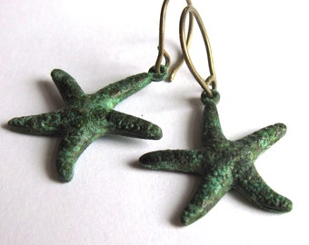 Verdigris Patina Starfish Earrings Fashion Jewelry