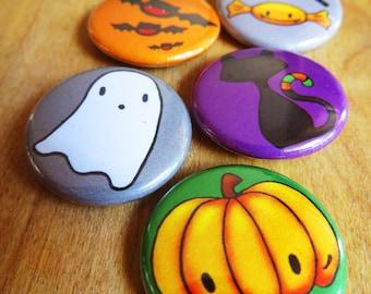 Halloween - Pin Badges - Pumpkin Cat Ghost Bats Candy Sweets