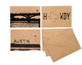 Austin Texas Lover's set of 3 note cards