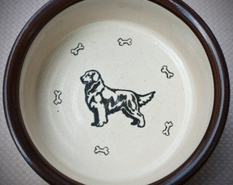 Golden Retriever Dog - Bowl in Brown (Extra Large)