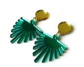 50% OFF SALE - PALM Statement Earrings - Palm earrings, Leaf earrings, Tropical Earrings, Green earrings, Perspex earrings