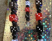 Bunco Red, White and Black Dice Laden Wine Bottle Charm