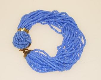 Blue Multi Strand Bracelet Periwinkle Blue Seed Beads Vintage 1950s Mid Century