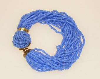 Blue Beaded Multi Strand Bracelet Periwinkle Vintage 1950s