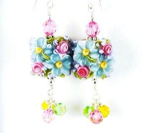 Pink Rose Lampwork Earrings, Blue Dangle Earrings, Flower Glass Bead Earrings, Floral Beadwork Earring, Glass Bead Jewelry, Lampwork Jewelry