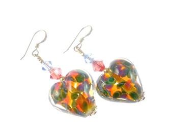 Boro Lampwork Earrings, Heart Glass Bead Earrings, Valentine Earrings, Lampwork Jewelry, Beadwork Earrings, Abstract Beaded Earrings