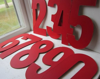 "Vintage Number 1, 4, 6, 7, 8, 9, 0 - Large 13"" Red Bowling Alley Numbers - Your Choice of One Sign Number - Nursery Decor - Birthday Party"