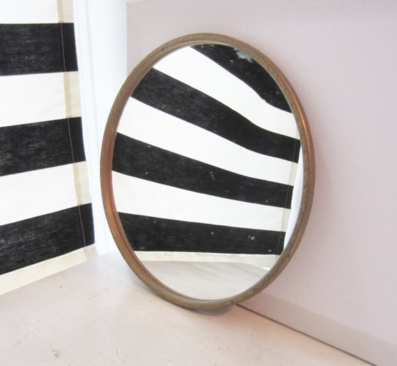 Vintage 14 round framed mirror wall mirror or vanity for Thin wall mirror