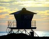Tower at Sunset - Lifeguard tower in Huntington Beach California Photograph, Beach Decor, Wall Art, California Sunset, Beach House Decor