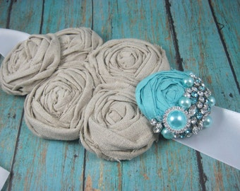 Aqua sash for wedding - blue bridal sash - rustic wedding - maternity sash - robin egg blue - wedding accessories