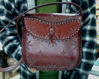Purse / Bag / Women / Cobbled / Leather / Custom / Hand Carved and Tooled / Handmade / Ladies / Woman / Leather Purse / Hand Crafted / Girl