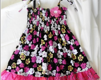 Pink and white floral dress, Summer dress, Girls flowery black dress, Pink frilly dress for girls, Black and pink dress,  Pink floral dress