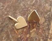 14K Gold Heart Earrings Valentine's Day Gift Wife Gift Girlfriend Gift Womens Gift for Women Heart Studs Heart Stud Earring Teen Girl Girls