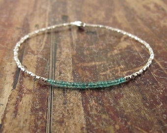 Emerald Bracelet Emerald Beaded Bracelets May Birthstone Jewelry May Birthday Gift for Her Karen Hill Tribe Silver Bead Bracelet Womens Gift