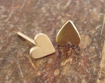Gold Studs 14K Stud Earrings Heart Earrings Heart Studs Heart Stud Earrings Womens Gift for Women Girlfriend Gift 14K Studs Heart Jewelry