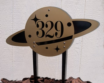 Custom Saturn House Number Ground Stakes