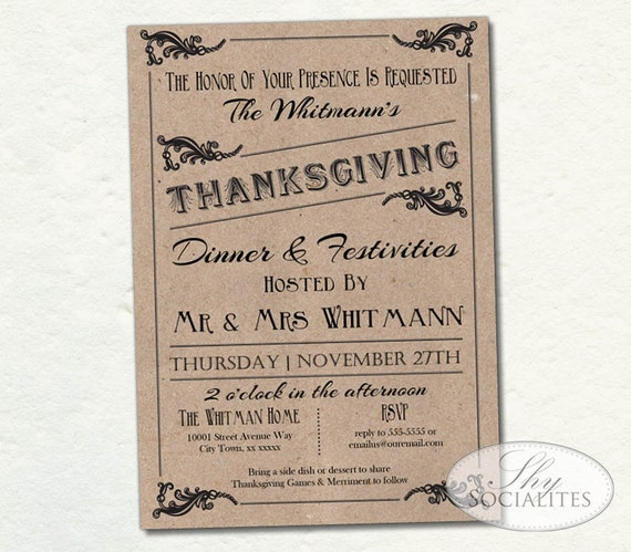 Vintage Brown Paper Thanksgiving Invitation