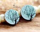 20% off -Unique 3D Embossed Tree 16mm Round Handmade Wood Cut Cabochon to make Rings, Earrings, Bobby pin,Necklaces, Bracelets-(WG-42)