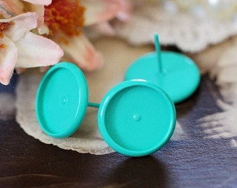 8mm.10mm.12mm.14mm.16mm Colored Enameled brass blank setting Post Earring With Round Pad  NICKEL FREE (EAR-68-6)