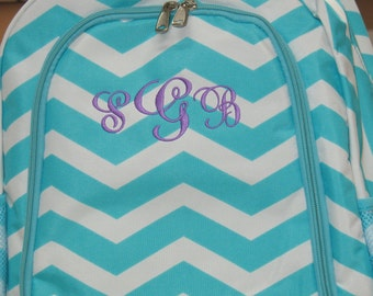 Personalized  Girls CHEVRON Backpack  TURQUOISE CHEVRON