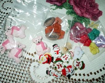 24 Children's Button Assortment Christmas Snowmen Santa Teddy Bears Butterflies Football Baseball Variety Crafting Sewing