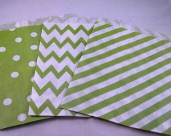 24 Christmas Treat Bags/Favor Bags/Bright, Lime Green, Chevron, Dot, Stripes