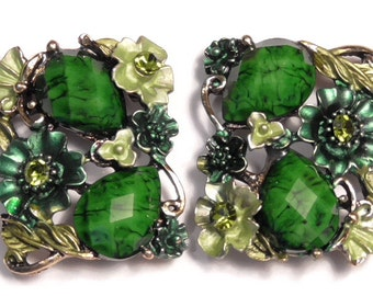 Two 2 Hole Slider Beads 2 Hole Focal Beads Painted Green Butterfly & Flowers Olivine Crystal Rhinestones, Marbled Acrylic Teardrop Cabochons