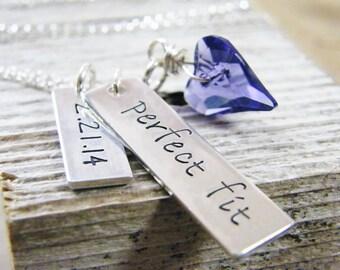 relationship, engagement, wedding date sterling silver handstamped heirloom keepsake necklace perfect fit