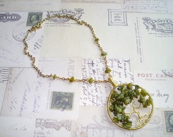 Jade and Gold Tree of Life Necklace Free Shipping
