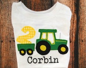 Birthday Tractor Embroidered Shirt or Body Suit with Green Tractor Personalized with name