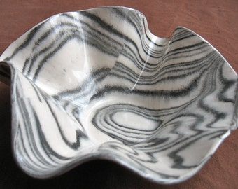 Ceramics and Pottery Handmade Agateware Bowl - Black and White Marbled Stoneware Pottery Bowl - Serving Dish