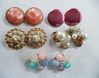 CLEARANCE 5 Pairs of Vintage Earrings Upcycle Destash