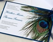 Blue Peacock Wedding Invitation, Feather Wedding, Blue Sapphire, SAMPLE