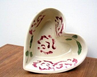 Hartstone Pottery Vintage Floral Heart Bowl Sponge Painted Roses