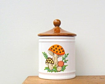 Vintage Mushroom Ceramic Container with Lid
