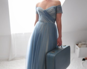Cinderella-Vintage Blue Tulle Wedding Dress