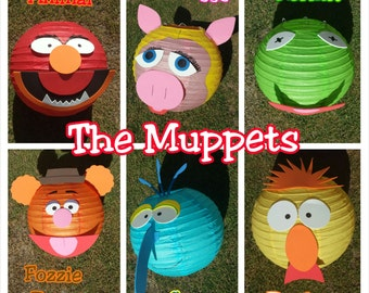 Muppets Inspired Paper Lantern Decorations (Kermit, Miss Piggy, Gonzo, Animal, Fozzie Bear, Beaker and Dr. Bunsen)