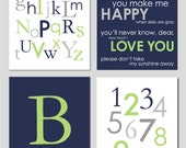 """Baby Boy Nursery Gray Apple Green and Navy Alphabet Initial Numbers You Are My Sunshine and Monogram Print You Choose Colors - 8""""x10"""""""