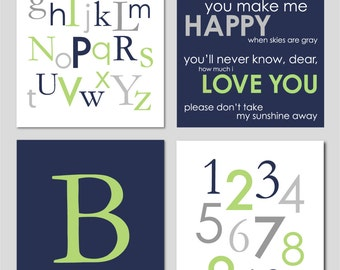 "Baby Boy Nursery Gray Apple Green and Navy Alphabet Initial Numbers You Are My Sunshine and Monogram Print You Choose Colors - 8""x10"""