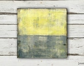 "Abstract Art Painting: 6x6 Abstract Art, Mixed Media Art, Contemporary Painting, Original Art, gray, grey, yellow, ""Grayson"""