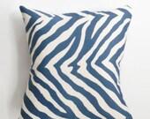 Zebra in Navy Pillow Cover - 18 x 18 - Modern Zebra Pillow Cover - Coastal Chic