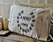 Grain Sack Seed Bag Pillow Cover with Wreath Emblem and Customization