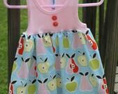 SAMPLE SALE Baby Girl Tank top Apple Dress SZ 3-6 months, Ready to Ship