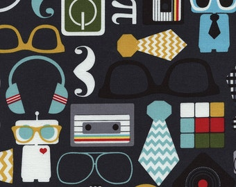 Retro Geek Charcoal (C2657)  - Timeless Treasures Fabric - By the Yard